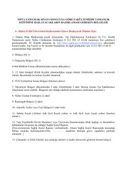 tıpta uzmanlık sınavını kazananlar için başvuru belgeleri