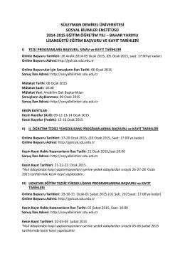süleyman demirel üniversitesi sosyal bilimler enstitüsü 2014