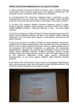 İl Etik Komisyonu 2014 Yılı Faaliyet Raporu