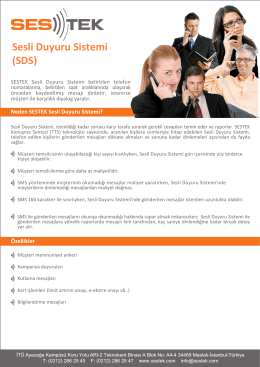 Sesli Duyuru Sistemi (SDS)
