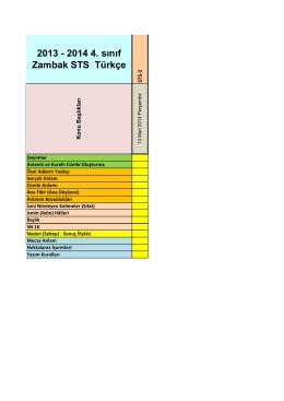 2013 - 2014 4. sınıf Zambak STS Türkçe