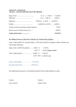 GÖKYÜZÜ APARTMANI 1.06.2014 – 31.05.2015 DÖNEMİ İŞLETME
