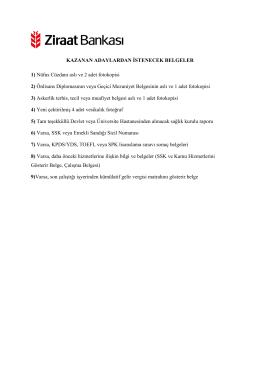 adayların getirecekleri belgeler
