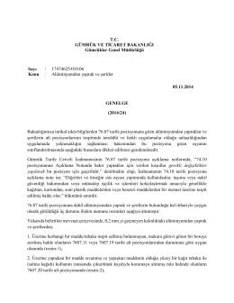Alüminyumdan Yaprak ve Şeritler - T.C. Gümrük ve Ticaret Bakanlığı