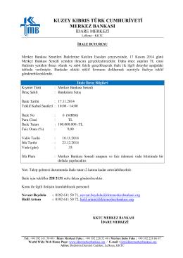 17 Kasım 2014 Tarihinde Yapılacak Olan Merkez Bankası Senedi