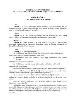 ONDOKUZ MAYIS ÜNİVERSİTESİ - Ondokuz Mayıs Üniversitesi