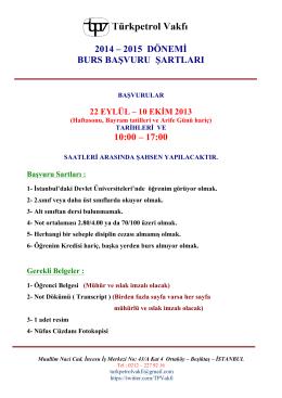 TPV 2014-2015 burs basvuru ilan