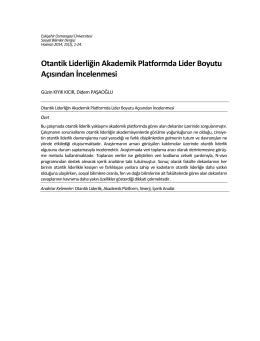 Özet - DergiPark