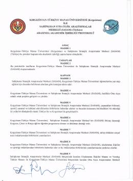 KIRGIZİSTAN-TÜRKİYE MANAS ÜNİVERSİTESİ (Kırgızistan) İLE