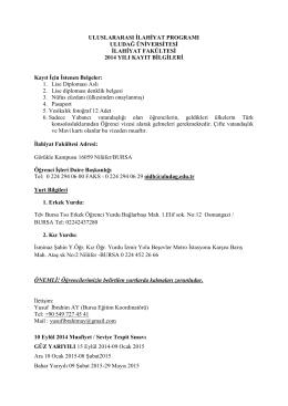 Bursa Uludağ Üniversitesi - Uluslararası İlahiyat Programı
