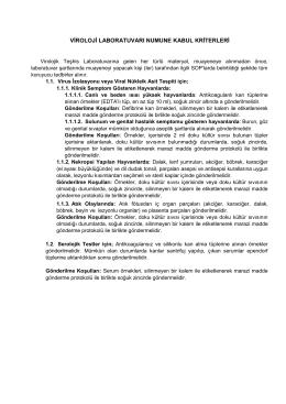 viroloji laboratuvarı numune kabul kriterleri