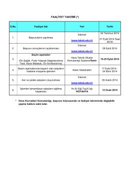 FAALİYET TAKVİMİ (*) - Hava Teknik Okullar Komutanlığı
