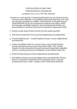Ağustos 2014 Yönetim Kurulu Toplantı Özeti