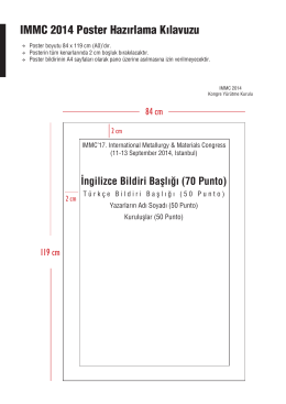 IMMC 2014 Poster Hazırlama Kılavuzu