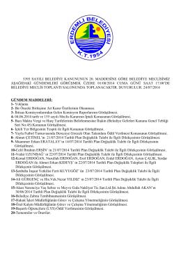 5393 sayılı belediye kanununun 20. maddesine göre belediye