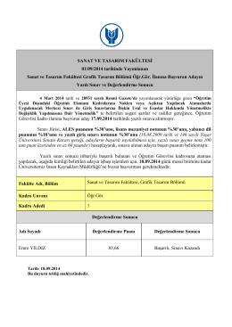 SANAT VE TASARIM FAKÜLTESİ 01/09/2014 tarihinde Yayımlanan