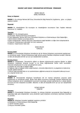 Süleyman Demirel Üniversitesi Kütüphane Kuralları (Yönerge)