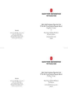 2014-2015 Eğitim Öğretim Yılı ÜNİ 101 Üniversitede Yaşam Dersi