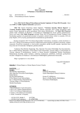 T.C. MUŞ VALİLİĞİ İl Planlama ve Koordinasyon Müdürlüğü Sayı