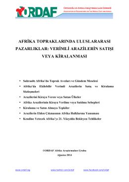 afrika topraklarında uluslararası pazarlıklar