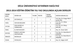 dicle üniversitesi veteriner fakültesi 2013-2014 eğitim