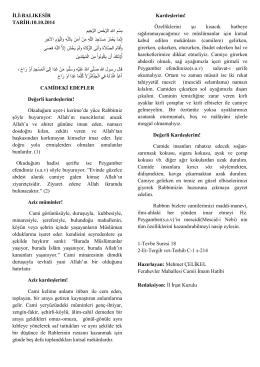 10.10.2014 Tarihli Hutbe : CAMİDEKİ EDEPLER