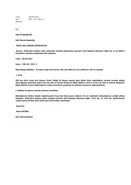 Tarih 30/09/2014 Sayı VUK - 69 / 2014