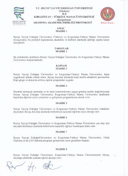 T.C. RECEP TAYYİP ERDOĞAN ÜNİVERSİTESİ (Türkiye) İLE