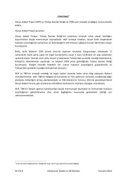 (TERCÜME)1 Dünya Adalet Projesi (WJP) ve Türkiye Barolar Birliği