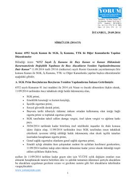 www.yorumymm.com İSTANBUL, 29.09.2014 SİRKÜLER (2014/33