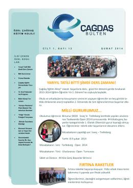 şubat ayı büteni - Özel İzmir Çağdaş Eğitim Kurumları