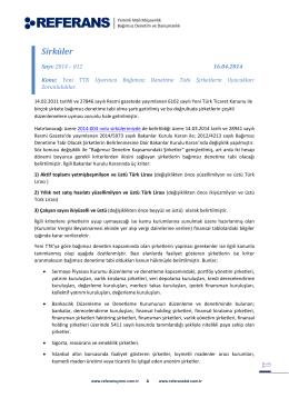 2014-012 Yeni TTK Uyarınca Bağımsız Denetime Tabi Şirketlerin