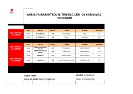 antalya basketbol il temsilciliği 24 kasım maç programı