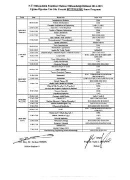 N.Ü Mühendislik Fakültesi Makine Mühendisliği Bölümü 2014