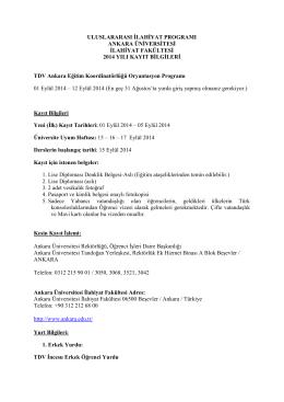 Ankara Üniversitesi - Uluslararası İlahiyat Programı