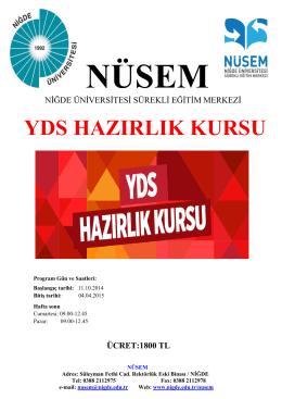 YDS HAZIRLIK KURSU - Niğde Üniversitesi