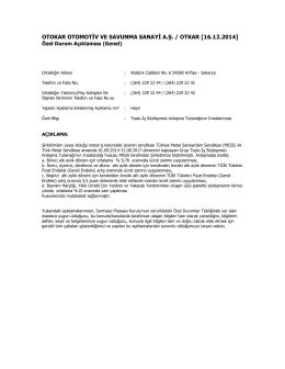 Özel Durum Açıklama Formu – 16.12.2014