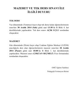 P.Formasyon Tek Ders ve Mazeret Sınav Duyurusu