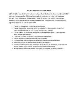 Görsel Programlama 1 - Proje Metni 22 Aralık 2014 Saat 23:59