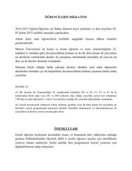ÖĞRENCİLERİN DİKKATİNE 2014-2015 Eğitim