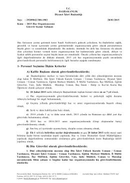 1- Personel Seçimine İlişkin Kriterler A) Kafile Başkanı olarak
