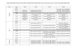 2014-2015 Bahar Yarı Yılı Haftalık Ders Programı