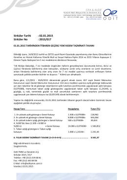 01.01.2015 Tarihinden İtibaren Geçerli Yeni Kıdem Tazminatı