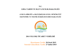 DIŞ TİCARET (Milyon Dolar) - TC Gıda Tarım ve Hayvancılık Bakanlığı