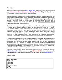 hannover messe uluslararası sanayi fuarı hk.