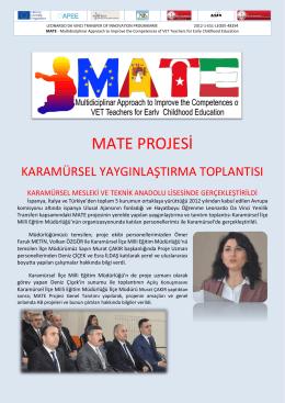 MATE PROJESİ - Kocaeli Milli Eğitim Müdürlüğü