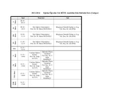 2013-2014 Eğitim Öğretim Yılı BÖTE Anabilim Dalı Haftalık Ders