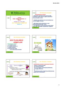 aile planlaması hizmetleri