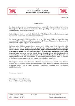 04.02.2015 Tarihli Basın Açıklaması