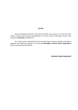 DUYURU Ekonomi Bakanlığı tarafından, 30/11/2014 tarihinde yazılı